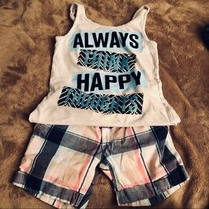 SALE ‼️7 items for $25‼️ Joe Fresh Plaid Shorts + Think Happy Thoughts Tank Tee
